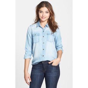 Halogen denim button down shirt size M